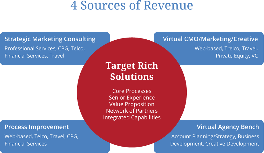 Four Sources of Revenue- Strategic Marketing Consulting, Virtual CMO/Marketing/Creative, Process Improvement and Virtual Agency Bench